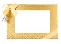 Gift box with ribbon and transparent face